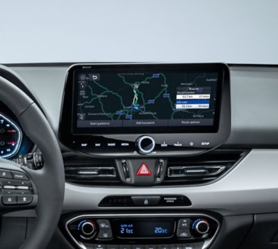 Showing the dashboard in the new Hyundai i30 with its navigation system.